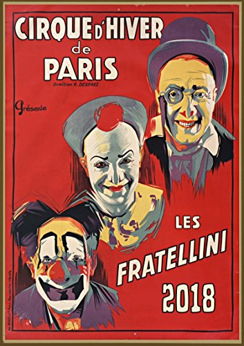 Calendrier mural 2018 [12 pages 20x30cm] Vintage Circus Clown Comedy affiche [Calendar]