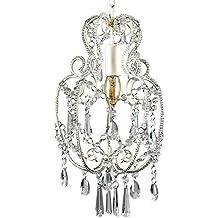 MiniSun - Preciosa lámpara de techo vintage de estilo candelabro, en blanco crema
