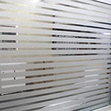 UniqueBella Pegatinas de Ventanas de Privacidad Vinilos Deslustrados Película Láminas Electrostáticas para Cristal Vidrio Decorativo sin Pegamento Decoración del Hogar Baño Cocina Oficina Control de Calor y Anti UV 45cm*200cm (Rayas Deslustradas)