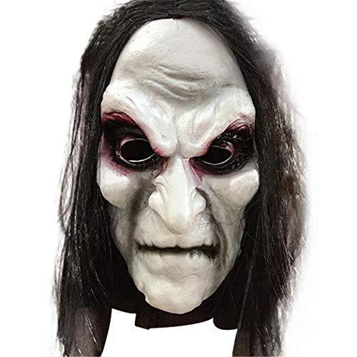 YEARYOWN Halloween Zombie Maske Requisiten Groll Hexengurt Zombie Maske Realistische Maskerade Halloween Maske Langes Haar Ghost Horror - Groll Kostüm