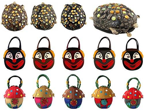 KukuBird-Expandable-Mushroom-Turtle-Clown-Cartoon-Pattern-Faux-Leather-Boutique-Totes-Handbag