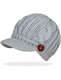 Schirmmütze Damen Mütze Strickmütze warme Wintermütze mit Holzknopf in 4 Farben - A080