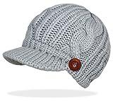 Schirmmütze Damen Mütze Strickmütze warme Wintermütze mit Holzknopf in 4 Farben - A080 (A080-Grau)