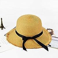 Sunbohljfjh Visor Sommer Strohhut Bogen Rand Strand Hut Damen Sonnencreme Dome 56 * 58 cm