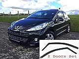 2x Deflettori D'Aria per Peugeot 207 3 Porte Modelli 2006-2014 In-Channel Antiturbo Per Auto Vetro Acrilico Anti Vento Guardia di Pioggia Sole Neve