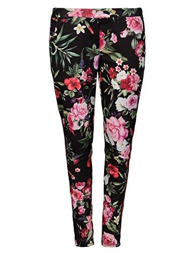 Zwillingsherz Hose mit Blumen Print - luftig leichte Freizeithose für Damen und Mädchen - Pant - Casual - Sweatpant-s - W36/L30 - swr (Blumen-print-hose)