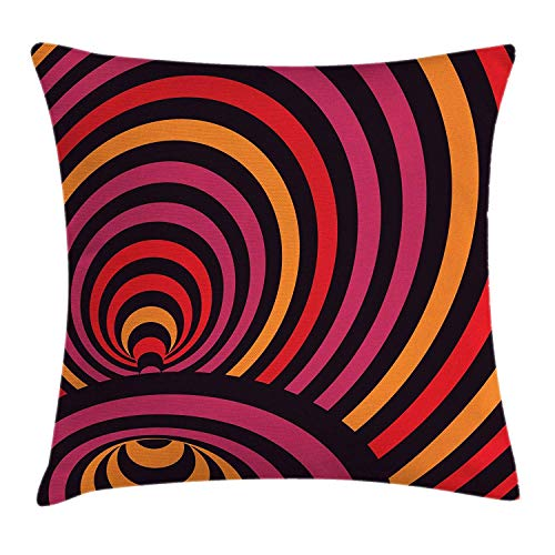BUZRL Geometric Throw Pillow Cushion Cover, Modern Wavy Lines Design Bullseye Style Circles Contemporary Abstract Pattern, Decorative Square Accent Pillow Case, 18 X 18 inches, Multicolor