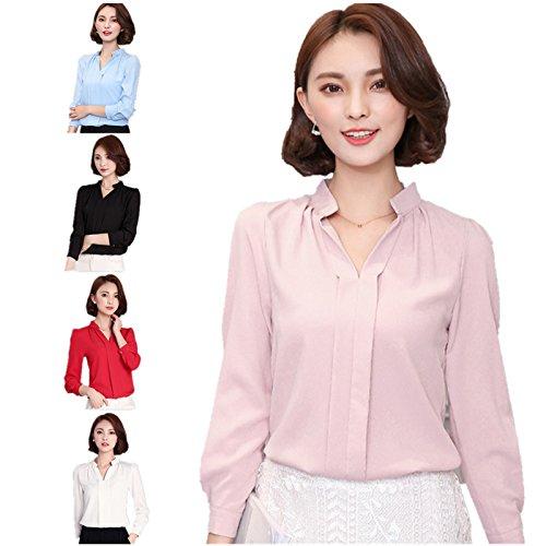 la moda femminile lady a maniche lunghe in camicetta estate / collo casual camicia al massimo Black