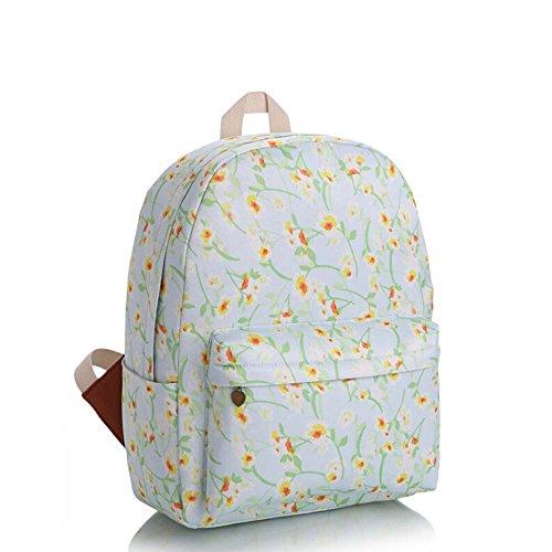 OUFLY Print Blumenrucksack gedruckt Leinwand Rucksack Schulter Satchel Schultasche Daypack Weiße und gelbe Blume