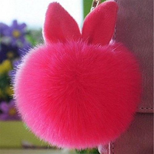 Fami Donne Pelliccia del coniglio sfera Portachiavi Bag Plush Car Key pendente dell'anello chiave auto HOT