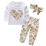 SCFEL Neugeborenes Baby Mädchen Blumen Liebes-Herz-lange Hülsen Top + Hosen + Stirnband 3 Stück Kleidungs-Satz (6-12 Monate, Beige)