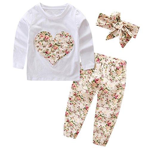 SCFEL Neugeborenes Baby Mädchen Blumen Liebes-Herz-lange Hülsen Top + Hosen + Stirnband 3 Stück Kleidungs-Satz (0-6 Monate, Beige)