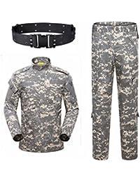 73e8de14e35 haoYK Militaire Camo Tactique Costume Hommes Chasse Combat BDU Uniforme  Veste Chemise et Pantalon avec Ceinture