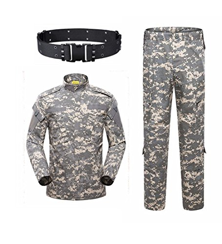 haoYK Military Camo Taktisch Anzug Männer Jagd Combat BDU Uniform Jacke Shirt & Hosen Anzug Camo Gürtel für Schießen Jagd War Game Armee Airsoft Paintball (ACU, XL) -