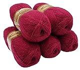 5 x 100 g Alize Glitzerwolle, Effektwolle einfarbig, 500 Gramm Metallic - Wolle mit 20% Woll-Anteil (pink 649)