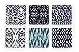 #10: My Own Jaipur Ikat Square Coasters Set of 6 Blue