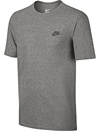 Nike M Nsw Tee Club Embrd Ftra, Camiseta de Manga Corta para Hombre, Gris (Dk Grey Heather / Cool Grey), L