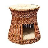2-30-G Katzenhöhle / Katzenkorb aus Weide von GalaDis. Mit zwei Kissen. Ein Katzenturm für Ihre Katze zum Ruhen und Spielen. - 5