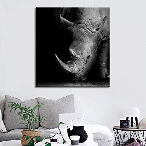 Black Rhino Animal Hd Print Canvas Painting Modern Simple Home Decoration Material Frameless Drawing Core 60 * 60cm No Frame - Rhino Canvas Print