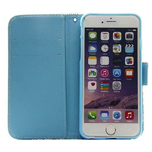 MOONCASE Étui pour Apple iPhone 6 / 6S (4.7 inch) Printing Series Coque en Cuir Portefeuille Housse de Protection à rabat Case A03 A07 #1117