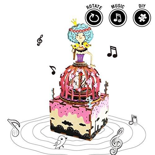 Princess Music Box (TTXLY Rotable DIY Princess Wooden Hand Crank Music Box Ungewöhnliche Home Decoration Hochzeits-Gastgeschenk für Kids Girlfriend)