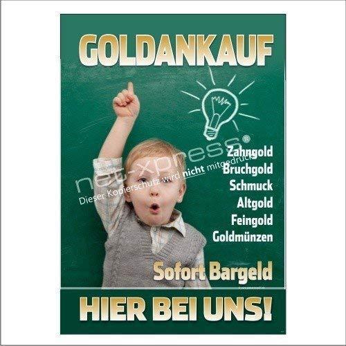 net-xpress Schild für Goldankauf-Werbung A1, Werbeplakat Plakat Poster Gold Bargeld