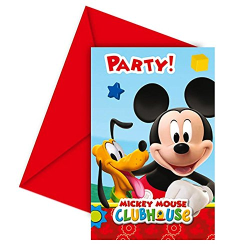 inladungskarten Karten Geburtstag 6 Stk. Mickey Mouse ()