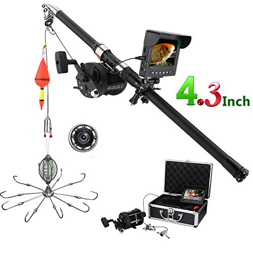 H&L Fish Finder,4.3 Inch Recorder Monitor Unterwasserfischerei Video Camera Kit 8 Pcs IR LED-Leuchten mit Explosion Angelhaken Transducer Detector,20mcable - Led-kajak-leuchten