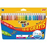BIC Kids Kid Couleur Colouring Pens (Pack of 18, Plus 6 Free)