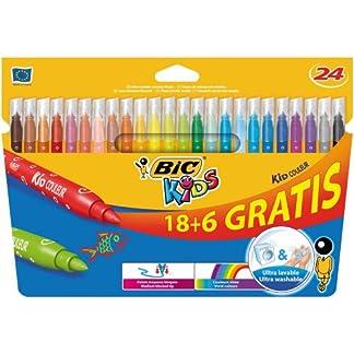 BIC Kids Kid Couleur rotuladores punta media – colores Surtidos, Caja de 18+6