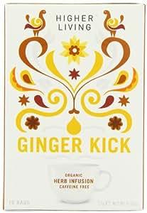 Higher Living Organic Ginger Kick 15 Teabags (Pack of 6, Total 90 Teabags)