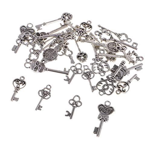 non-brand Sharplace 30er Pack Bulk Assorted Antik Silber Anhänger Kettenanhänger Charms Pendants für DIY Schmuck