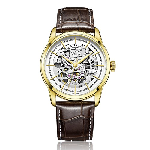 Rotary-Mens-Automatic-Watch-with-White-Dial-Analogue-Display-and-Brown-Leather-Strap-GS0034502