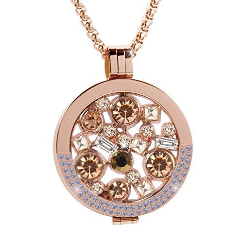 Beste-Geschenk-fr-Freundin-Meilanty-Damen-Halskette-80cm-Edelstahl-Anhnger-Rosegold-mit-Auswechselbare-Coin-33mm-ZH-019