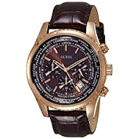 Guess Mens Quartz Watch, Chronograph Display and Leather Strap W0500G3