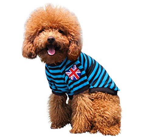 YiJee Haustier Kleine Weste Hund Katze T-Shirts Gestreifte Sommer Welpen Bekleidung Blau S -