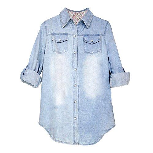Eleery Regular Fit Damen Langarm Denim Bluse Jeanshemd Jacken Hemdkragen T-Shirt (Hellblau, XXL) -