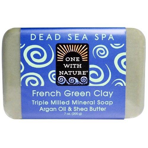One With Nature - Pétrole d'argan de savon de barre d'argile et beurre minéraux de bassie fraisés par triple vert français - 7 once.