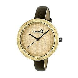 Earth Wood Yosemite Leather-Band Watch - Khaki/Tan (ETHEW3701)