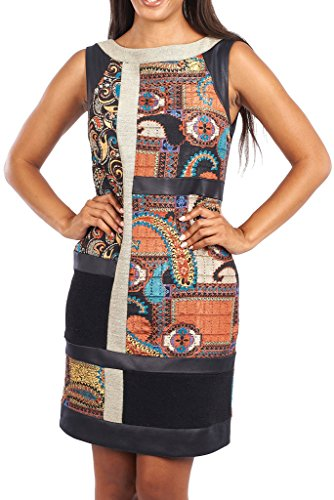Joseph Ribkoff Black & Paisley Print Sleevelss Shift Dress Style 163685