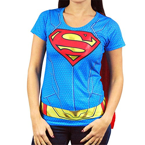 Donna DC Comics Supergirl supereroe Costume maglietta con Capo Blu Small - UK 6-8 Blue