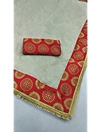 Generic Chanderi Cotton Saree With Blouse Piece (New_523_Beige_Free Size) …