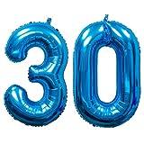 Meowoo Helium Luftballon 30 Geburtstag 100CM Folienballon Zahl 30 Geburtstag Party Dekoration Supplies (Blau Num 30)