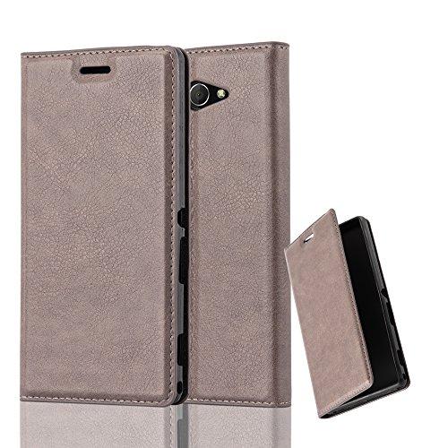 Cadorabo Hülle für Sony Xperia M2 - Hülle in Kaffee BRAUN – Handyhülle mit Magnetverschluss, Standfunktion und Kartenfach - Case Cover Schutzhülle Etui Tasche Book Klapp Style