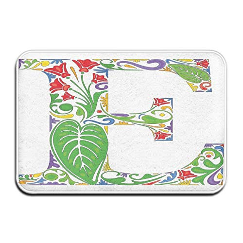 Natur Life Super Green (Nacasu Memory Foam Bath Mat Non Slip Absorbent Super Cozy Plush Bathroom Rug Carpet,Nature Inspired Green Life Expressing Abstract Artwork In Capital E Letter Print,Decor Door Mat 23.6 X 15.7 Inches)