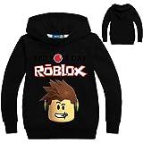 HJkjlmlFG Roblox Pullover Suéter con Capucha Popular Simple Impreso Sudadera con Capucha de Moda Cómodo suéter niños y niñas