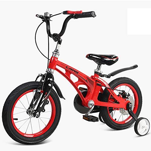 XiangYu Kinderfahrrad, Magnesiumlegierung Material, Doppelscheiben Bremssystem, Einstellbarer Lenker und Sattel + Rutschfestes Hilfsrad Red-18inch(ohne Auxiliary Wheel)