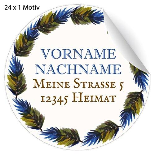 24 edle, Custom Adress-Aufkleber mit Federkranz in blau oliv, MATTE Papier Sticker mit ihrer Adresse, Text universal Etiketten, Namensschilder für Tischdeko, Schule, Pakete, Briefe (4,5cm)