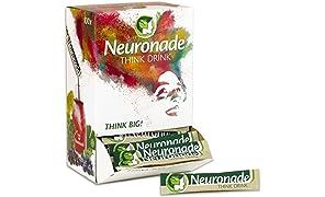 Neuronade - koffeinfreies Getränk für Konzentration mit wichtigen Vitaminen und Pflanzenstoffen - Ginkgo, Brahmi, Rhodiola und Vitamin B12 (vegan), 100er Pack.