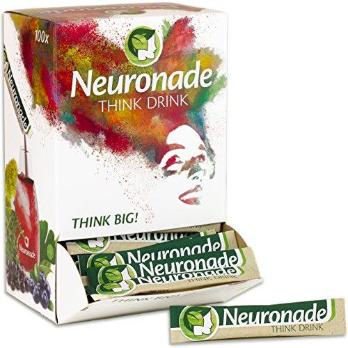 Neuronade - koffeinfreies Getränk für Konzentration mit wichtigen Vitaminen und Pflanzenstoffen - Ginkgo, Brahmi, Rhodiola und Vitamin B12 (vegan), 100er Pack. -